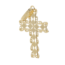 Ladies Vintage Classic Estate 14K Yellow Gold Cross Pendant - 21mm