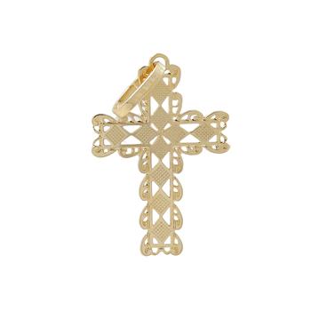 Ladies Vintage Classic Estate 14K Yellow Gold Cross Pendant - 21mm