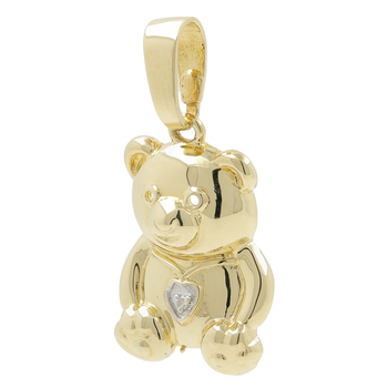 Vintage Estate 14K Yellow Gold Diamond Heart Bear-Shaped Animal Pendant - 1 inch