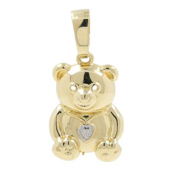 Vintage Estate 14K Yellow Gold Diamond Heart Bear-Shaped Animal Pendant - 1 inch