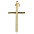 Vintage Classic Estate 14K Yellow Gold Diamond-Cut Cross Charm Pendant - 38mm