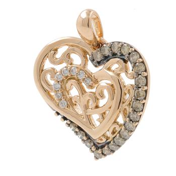 Ladies LeVian 18K Rose Gold White & Champagne Diamond Heart Pendant - 0.50CTW