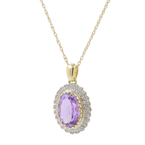 Ladies Estate 14K Yellow Gold Purple Amethyst & Diamond Halo Pendant Necklace