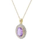 Ladies Estate 14K Yellow Gold Purple Amethyst & Diamond Halo Pendant Necklace