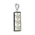 Ladies Vintage Estate 925 Silver Three Plumeria Flowers Floral Design Pendant - 25mm