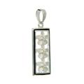 Ladies Vintage Estate 925 Silver Three Plumeria Flowers Floral Design Pendant - 25mm