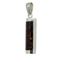 Ladies Men's Vintage Estate 925 Sterling Silver Amber Stone Bar Pendant - 40mm