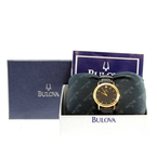 Ladies Bulova Gold-Tone Case Black Dial & Leather Strap Diamond Watch - 97F02