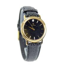 Ladies Bulova Gold-Tone Case Black Dial & Leather Strap Diamond Watch - 97F02