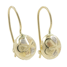 Ladies Classic Estate 14K Tri-Color Yellow White Rose Gold French Wire Earrings