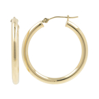 Ladies Vintage Classic Estate 14K Yellow Gold Hollow Hoop Earrings - 30mm