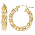 Ladies Classic Estate 14K Yellow Gold Braided Design Hoop Earrings - 25mm