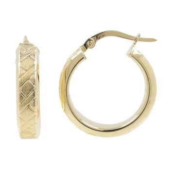 Ladies Classic Estate 14K Brushed & Polished Yellow Gold Huggie Hoop Earrings