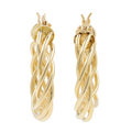 Ladies Classic Estate 14K Yellow Gold Braided Design Hoop Earrings - 25mm