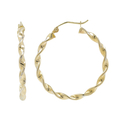 Ladies Classic Estate 14K Yellow Gold Twisted Design Hoop Earrings