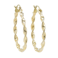 Ladies Classic Estate 14K Yellow Gold Twisted Design Hoop Earrings