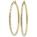 Ladies Classic Estate 14K Two-Tone Gold Textured Patchwork Design Hoop Earrings