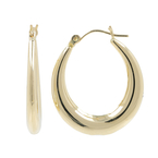 Ladies Vintage Classic Estate 14K Yellow Gold Hollow Hoop Oval Earrings - 28mm