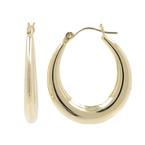 Ladies Vintage Classic Estate 14K Yellow Gold Hollow Hoop Oval Earrings - 28mm