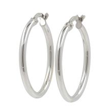 Ladies Modern 14K White Gold Round Hollow Tube Hoop Earrings - 23.5mm