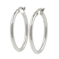 Ladies Modern 14K White Gold Round Hollow Tube Hoop Earrings - 23.5mm