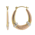 Ladies Classic Estate 14K Tri-Color Brushed & Polished Gold Oval Hoop Earrings