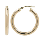 Ladies Classic Estate 14K Yellow Gold Round Hollow Tube Hoop Earrings - 25mm