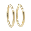 Ladies Classic Estate 14K Yellow Gold Round Hollow Tube Hoop Earrings - 30mm