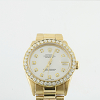 Ladies Rolex 18k Solid Gold Midsize President 6827 Custom Diamond Dial & Bezel
