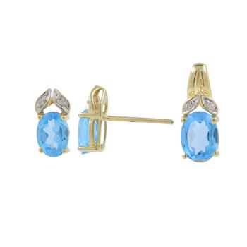 Ladies Vintage Estate 10K Yellow Gold Blue Zircon Gemstone w/ Diamond Accent Earring & Pendant Jewelry Set