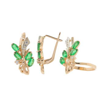 Ladies Estate 14K Rose Gold Green White Zirconia Earrings & Ring 2PC Jewelry Set