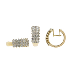 Ladies Vintage Estate 14K Yellow Gold Diamond Ring & Hoop Earrings Jewelry Set - 4.41CTW