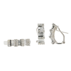 Ladies Estate 18K White Gold Diamond Ring & Earrings Jewelry Set - 1.40CTW
