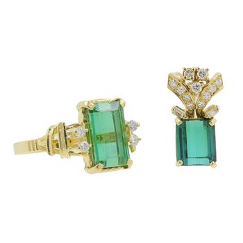 Ladies Classic Estate 18K Yellow Gold Green Tourmaline Gemstone w/ Diamond Accent Ring & Pendant Jewelry Set