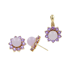 Ladies Estate 10K Yellow Gold Lilac Jade & Purple Amethyst Halo Gemstone Pendant and Earrings Jewelry Set