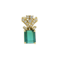Ladies Classic Estate 18K Yellow Gold Green Tourmaline Gemstone w/ Diamond Accent Ring & Pendant Jewelry Set