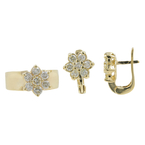 Ladies Vintage Estate 14K Yellow Gold Rosita Cluster Diamond Ring & Earrings Set - 2.52CTW