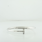 Cartier 18K White Gold & Diamond Juste Un Clou Nail Bracelet In Box Size 18