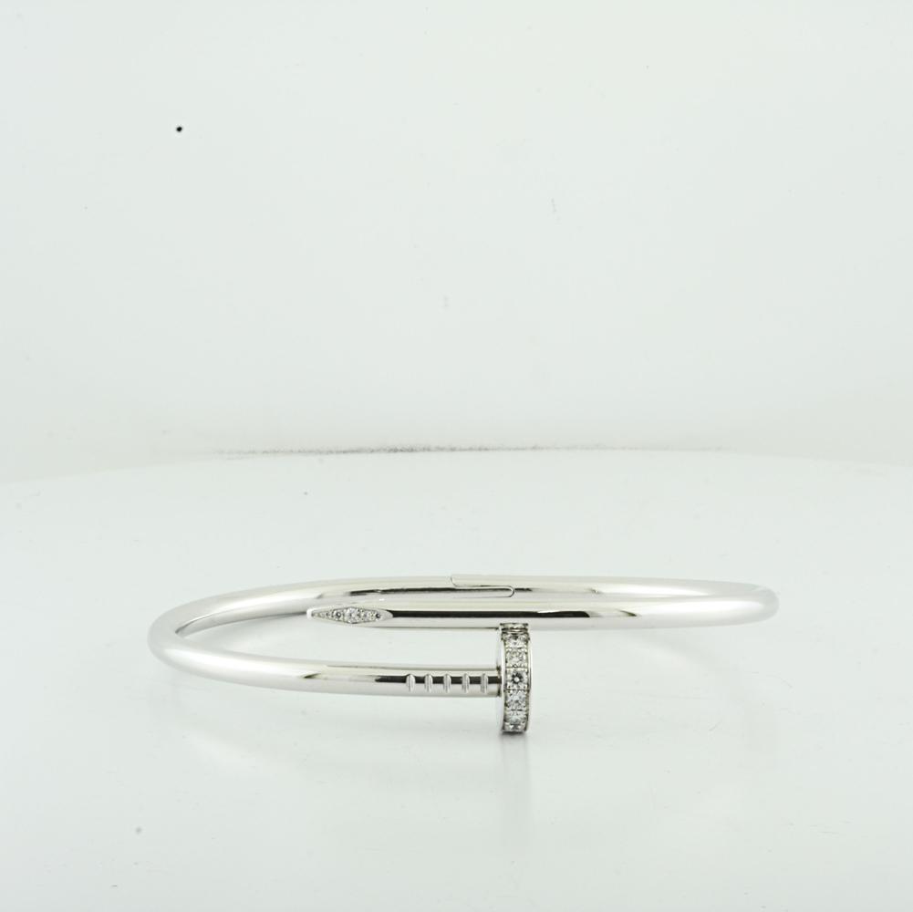 Cartier 18K White Gold Diamond Juste Un Clou Nail Bracelet In Box
