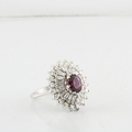 Estate Stunning Edwardian 18K White Gold w/ Round and Baguette Diamonds Ring