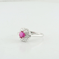 Mesmerizing Estate 14K White Gold Edwardian Red Topaz & Diamond Jewelry Ring