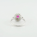 Mesmerizing Estate 14K White Gold Edwardian Red Topaz & Diamond Jewelry Ring