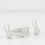 Luxuries Diamond Dangle Earrings & Matching Ring 14K White Gold Jewelry Set
