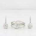 Luxuries Diamond Dangle Earrings & Matching Ring 14K White Gold Jewelry Set