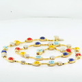 Designer AARON BASHA Ladybug 18K Yellow Gold & Diamond Flower Charms Necklace