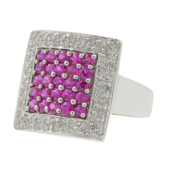Ladies Estate 14K White Gold Diamond & Pink Spinel Gemstone Statement Ring
