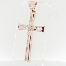 Mens XXL 14k Rose Gold Cross Pendant Totaling Over 5 Carats Of Princess Diamonds