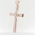 Mens XXL 14k Rose Gold Cross Pendant Totaling Over 5 Carats Of Princess Diamonds