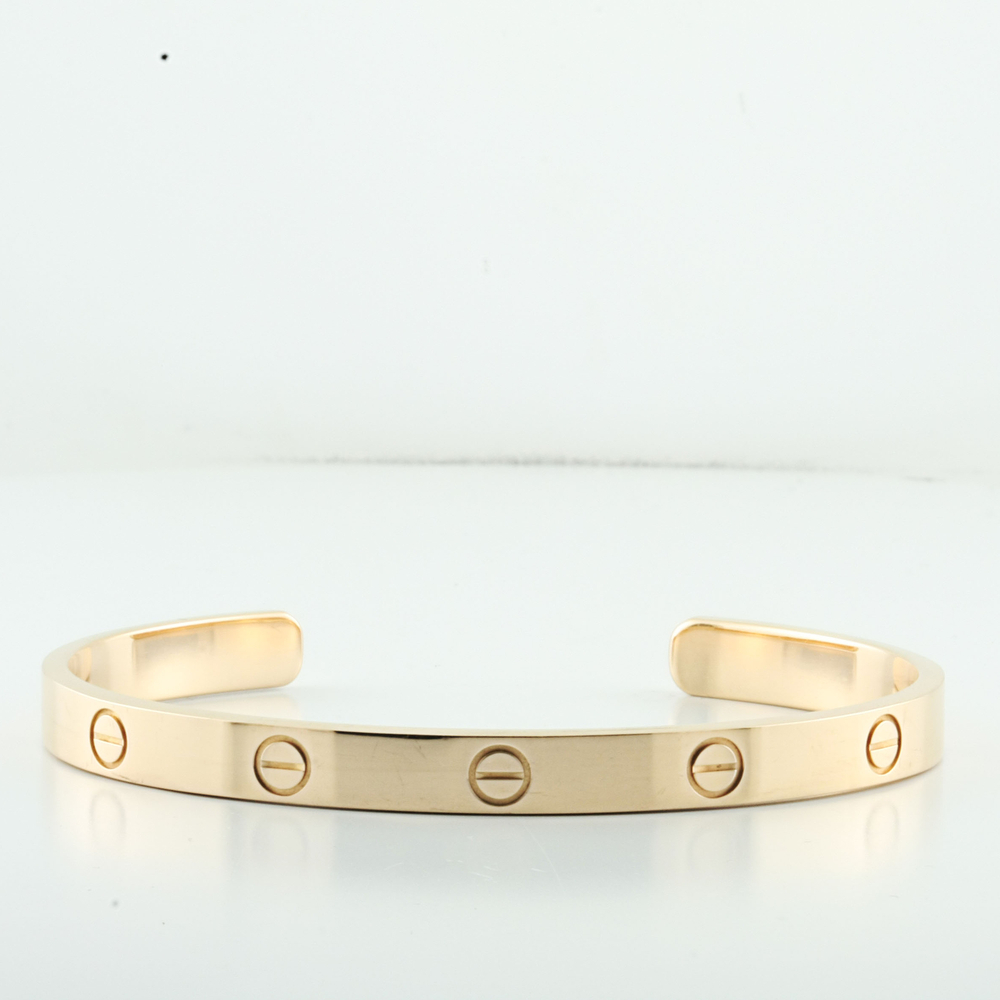 2a65cdfb3ec7 100% Authentic Designer Cartier 18k Rose Gold Love Bracelet Cuff Size 19