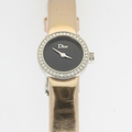 Ladies La Dior Mini D Diamond Stainless Steel Leather Strap Quartz Watch In Box